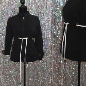 Jackets & Blazers - Black Jacket White Draw String Gold Accent (PS)